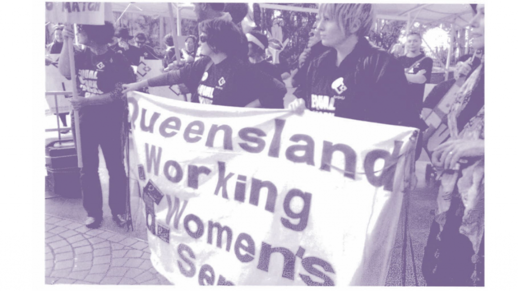 Queensland Working Women's Service marching